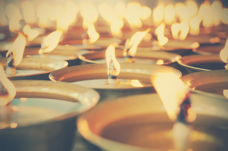 Spiritual oil lamps in temple. for meditation, consciousness. - vintage effect