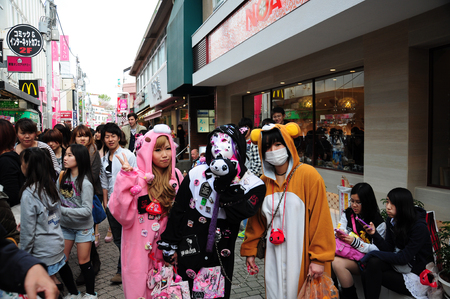 15 April, 2012. Harajuku, Kyoto, Japan.Teenage girls wearing cosplay on Sunday.