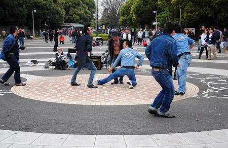 15 April, 2012. Harajuku, Kyoto, Japan.Elvis street dancing group
