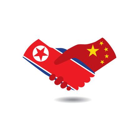 treaty: World peace icon in light gray background, North Korea handshake with China