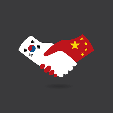 business meeting asian: World peace icon in light gray background, South Korea handshake with China