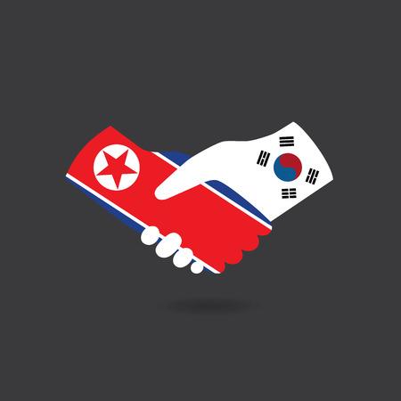 World peace icon in light gray background, North Korea handshake with South Korea