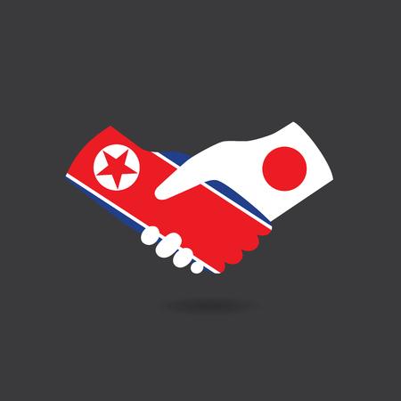 asian business meeting: World peace icon, North Korea handshake with Japan