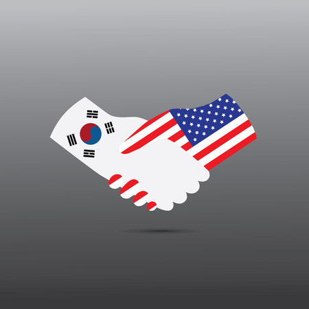 competitors: World peace icon in light gray background, USA handshake with South Korea