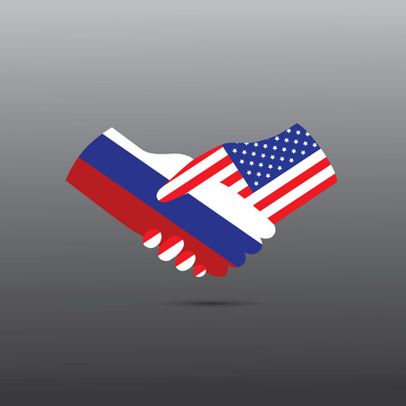 peace treaty: World peace icon in light gray background, USA handshake with Russia