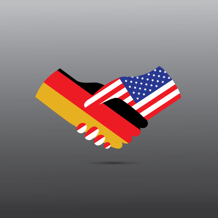 europa: World peace icon in light gray background, USA handshake with Germany
