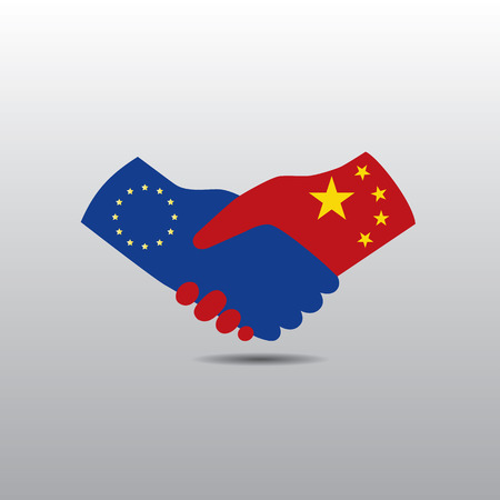 peace treaty: World peace icon in light gray background, EU handshake with China