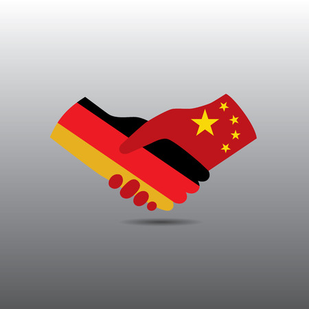enemies: World peace icon in light gray background, Germany handshake with China Illustration