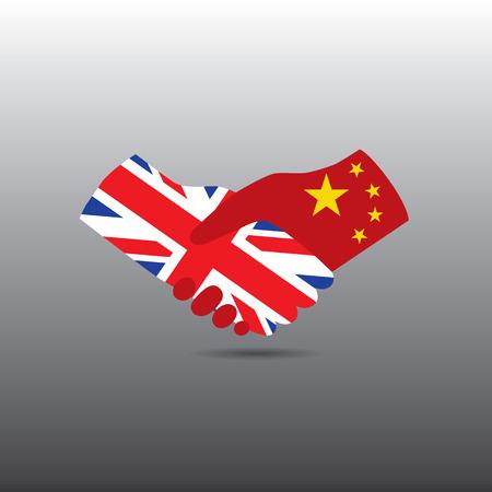 business meeting asian: Monde ic�ne de la paix en fond gris clair, Royaume-Uni poign�e de main avec la Chine