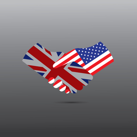 world peace: World peace icon in light gray background, USA handshake with UK