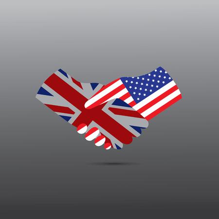 peace treaty: World peace icon in light gray background, USA handshake with UK