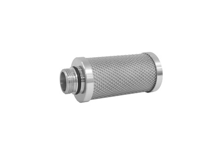 compressed air: Activated carbon type - cartridge filter used for cleaning compressed air in industry Stock Photo