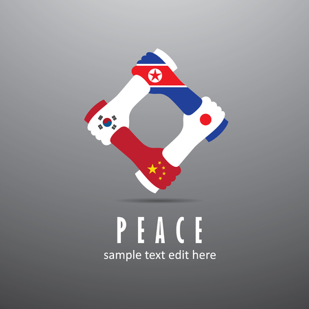 World peace icon in light gray background. East Asia nations cooperation - China, Japan, South Korea and North Korea