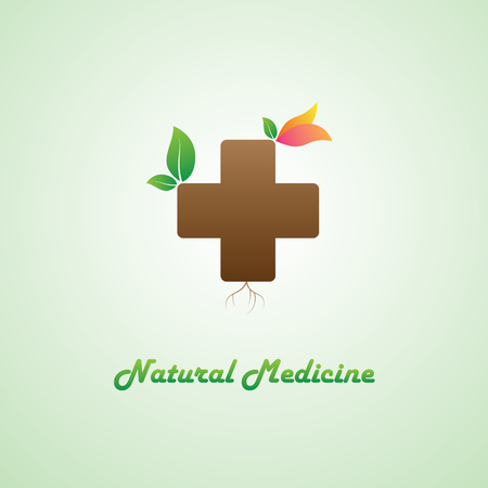 natural medicine: Natural medicine logo, as a tree with green leaves and colorful flower