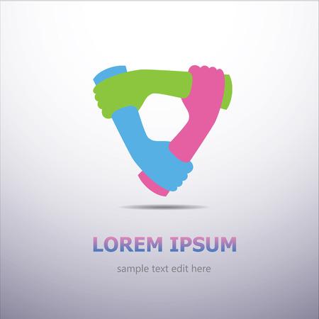 Three organization cooperation colorful logo Vettoriali