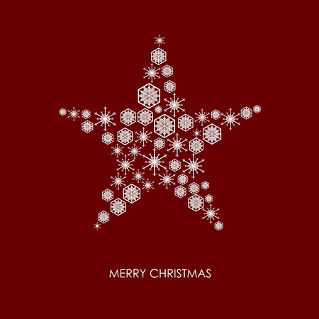 christmas star background: Christmas card design. Snowflake in star shape on red background Illustration