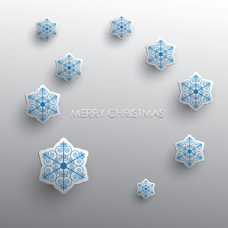 3d paper art: Christmas card design with 3d paper art snowflake on light gray background