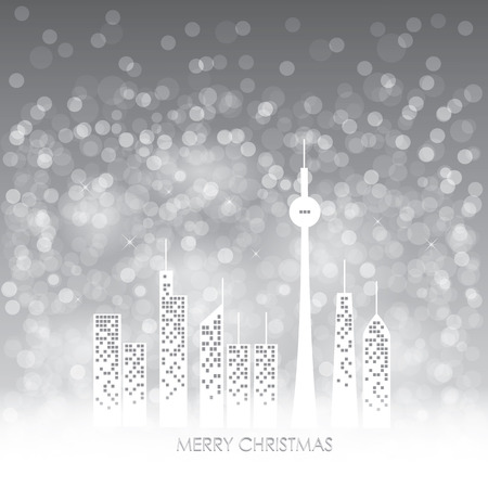 snow fall: Christmas card design - city with snow fall on gray background Illustration