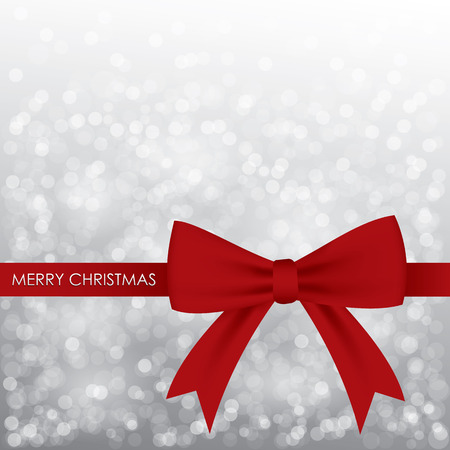 holiday season: Christmas card design with snowflake and red ribbin on gray background