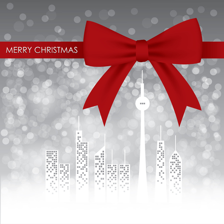 ribbin: Christmas card design with snowflake, city and red ribbin on gray background