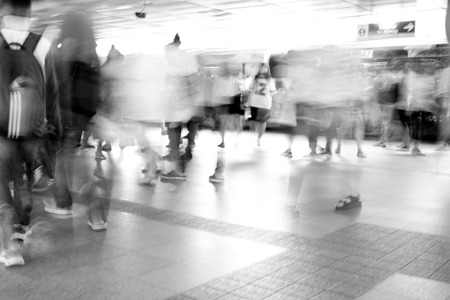 Moving Blur People Walking In Railway Station