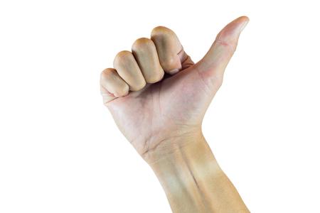 Isolé pouce main droite