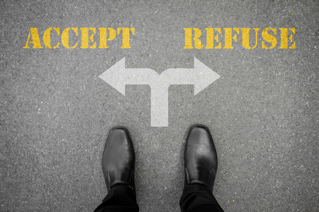 refuse: Black shoes has decision to make at the cross road - accept or refuse