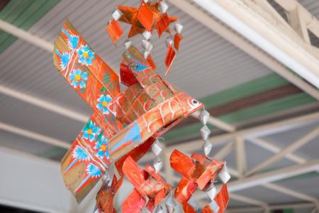 wicker work: Red wicker work fish hanging mobile