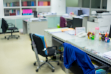 screen partition: Abstract blur office interior. Desk, chair, computer, document, closet, partition Stock Photo