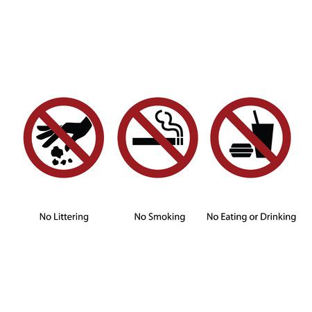 botar basura: Tres letrero círculo. No tirar basura, no fumar y no comer o beber