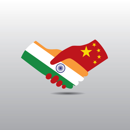 peace treaty: World peace icon in light gray background, India handshake with China