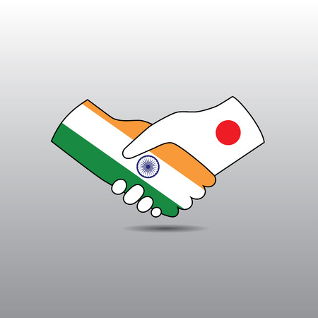 peace treaty: World peace icon in light gray background, India handshake with Japan