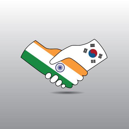 peace treaty: World peace icon in light gray background, India handshake with South Korea Illustration