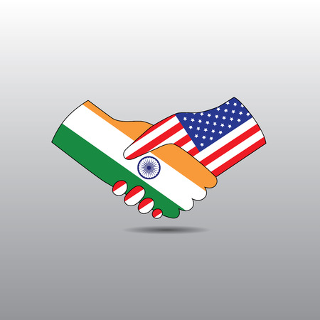 world peace: World peace icon in light gray background, India handshake with USA
