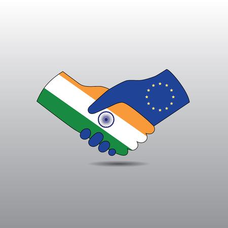 peace treaty: World peace icon in light gray background, India handshake with EU
