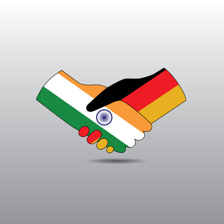business rival: World peace icon in light gray background, India handshake with Germany