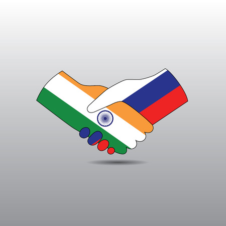 world peace: World peace icon in light gray background, India handshake with Russia