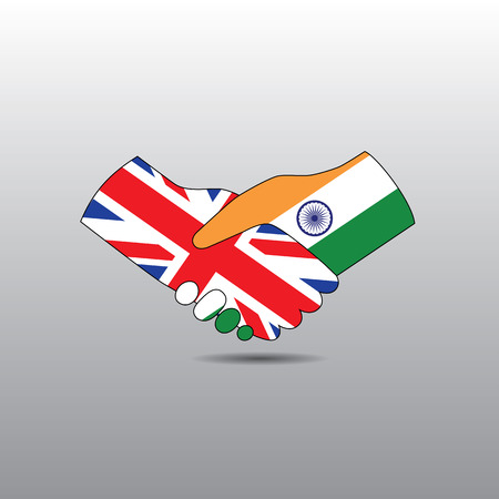 world peace: World peace icon in light gray background, India handshake with England