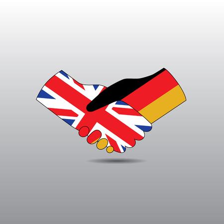 peace treaty: World peace icon in light gray background, England handshake with Germany