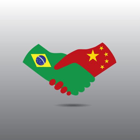 peace treaty: World peace icon in light gray background, Brazil handshake with China