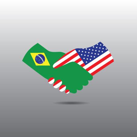peace treaty: World peace icon in light gray background, Brazil handshake with USA