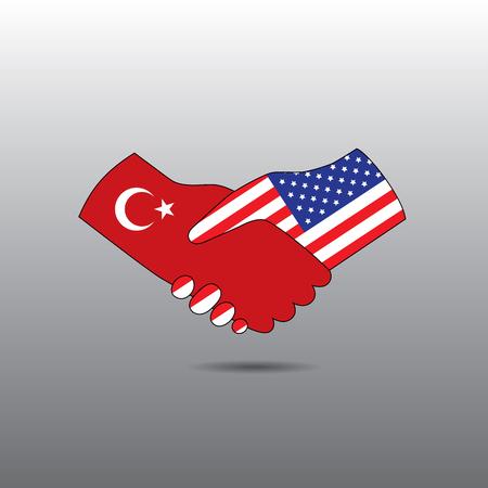 peace treaty: World peace icon in light gray background, Turkey handshake with USA