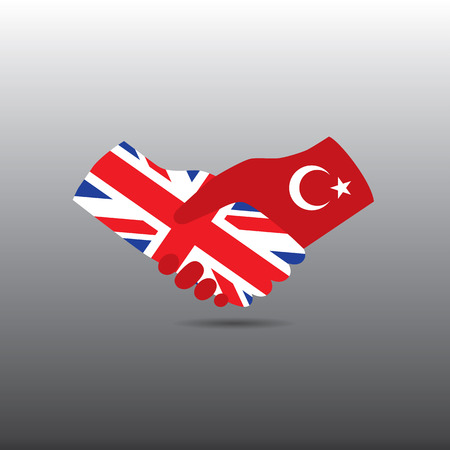 world peace: World peace icon in light gray background, Turkey handshake with England