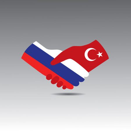 treaty: World peace icon in light gray background, Turkey handshake with Russia Illustration