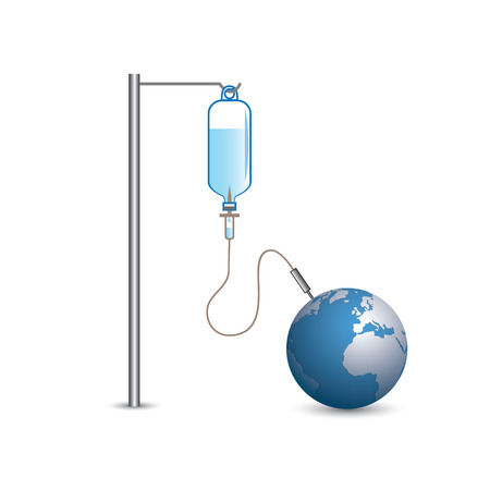 saline: Heal the world concept - Saline solution inject to the earth