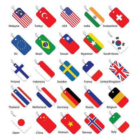 usa flags: Set of 25 national flag tags Illustration