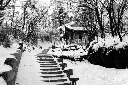 Snow caped stair way to emei mountain top - China Stock Photo