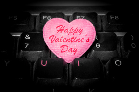 qwerty: U and I - love forever - Happy Valentines Day with pink heart Stock Photo