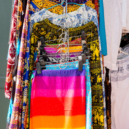 clothes rack: Colorful Thai style clothes hanging on the rack