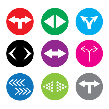 undecided: Set of nine two-way direction symbol icons